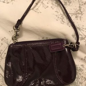Mini patent leather purple Coach wristlet